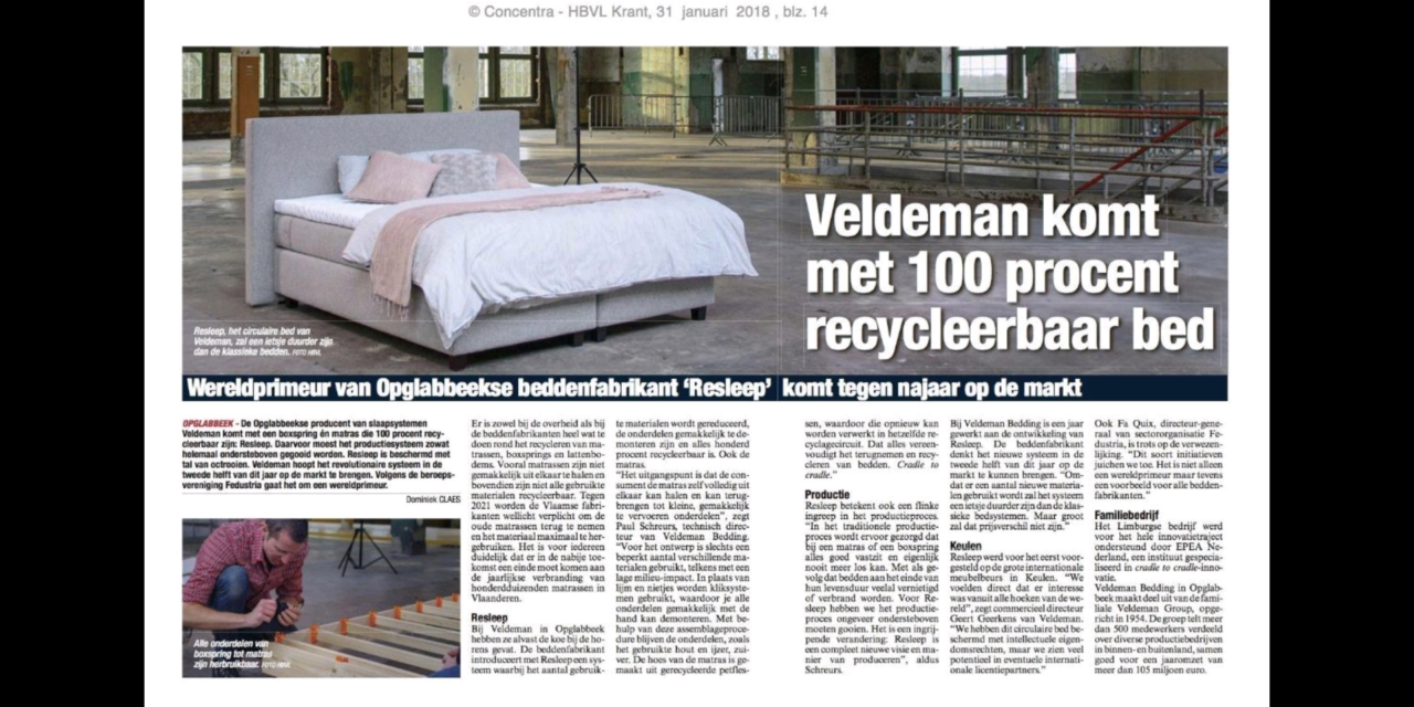 Veldeman komt met 100% recyclebare boxspring